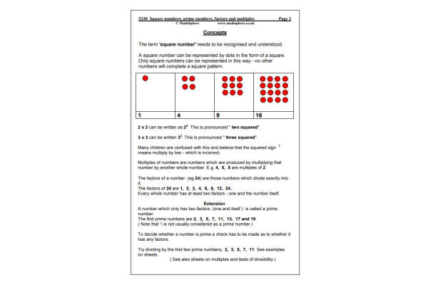 Square, Prime, Factors & Multiples (Key Stage 2)