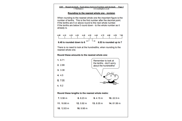Rounding Decimals (Key Stage 2)