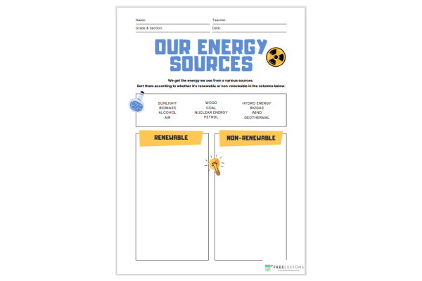 Our Energy Sources (Key Stage 1)