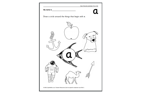 Letter 'A' Worksheets (Key Stage 1)