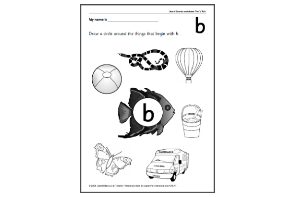 Letter 'B' Worksheets (Key Stage 1)