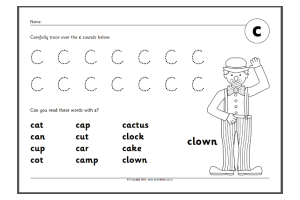 Letter 'C' Worksheets (Key Stage 1)