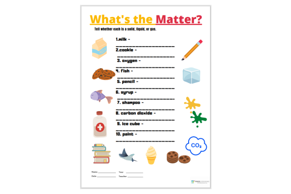What's The Matter? Worksheet 2 (Key Stage 1)