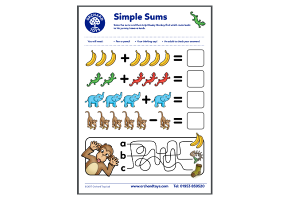 Simple Sums With Monkeys (Key Stage 1)
