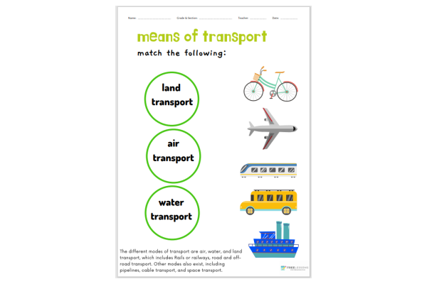 Means Of Transport (Key Stage 1)