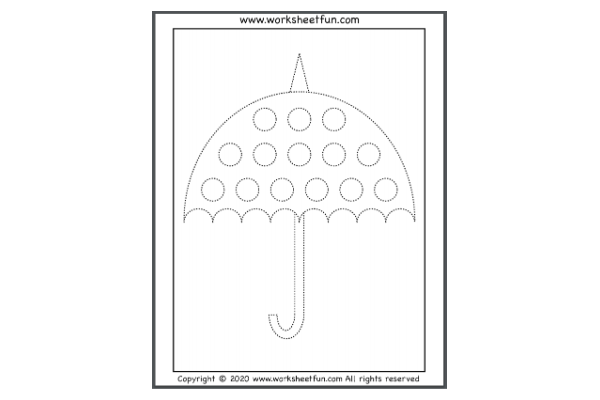 Umbrella And Circles Tracing (Key Stage 1)