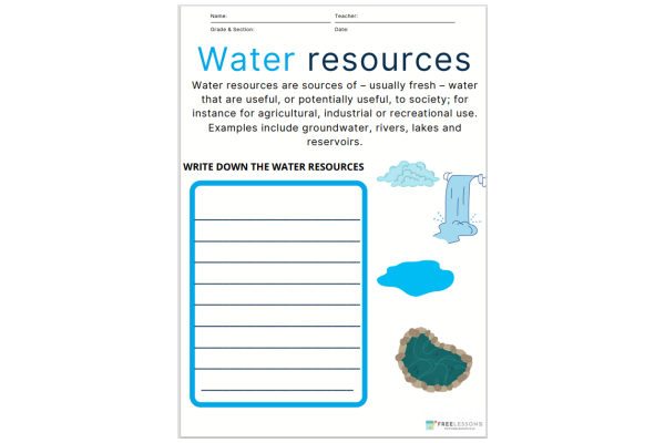 Water Resources (Key Stage 1)